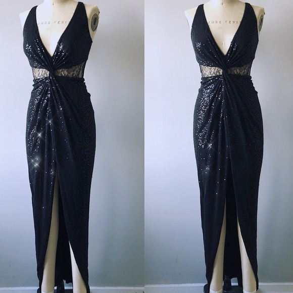 Aidan Mattox Dresses | Consigned Black Sequin Lace Gown | Poshmark